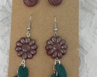 Flower and Stud Earring set