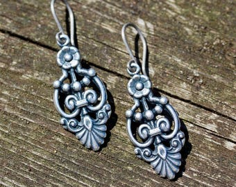 Antique Silver Art Nouveau Floral Earrings With Hypoallergenic Titanium, Niobium OR Sterling Silver Ear Wires - Everyday Earrings