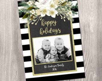 Photo Christmas card, holiday photo Personalized Card, black white stripes watercolor floral gold glitter digital printable