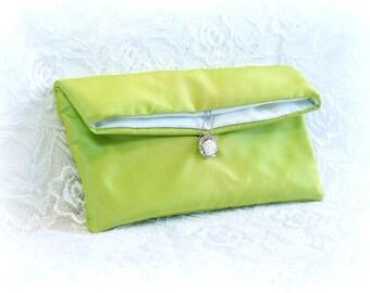 Apple Green Wedding Clutch, Bridesmaid clutch, Evening Silk Clutch, Mother of the Bride Gift, Rhinestone Crystal bag, Envelope, slim clutch
