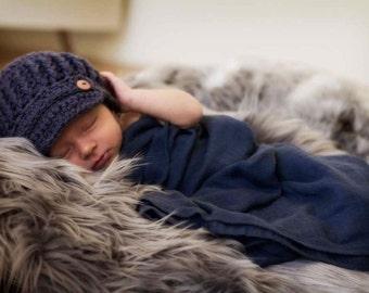 Crochet Newborn Newsboy Hat