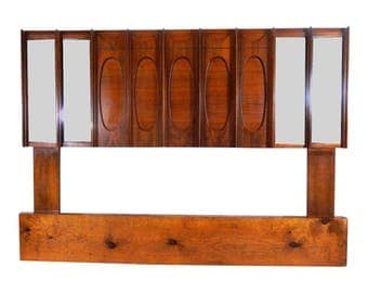 Mid Century Modern Queen Brutalist Wood and Mirrored Headboard in the Style of Paul Evans
