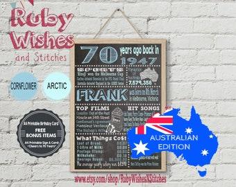 Personalised 70th Birthday 1947 Chalkboard Printable- Australian