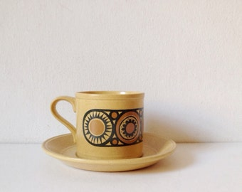 1970's coffee cup, Kiln Craft Bacchus cup and saucer with retro print