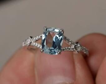 Aquamarine Engagement Ring Split Shank Ring Silver Cushion Cut Gemstone Ring March Birthstone Ring
