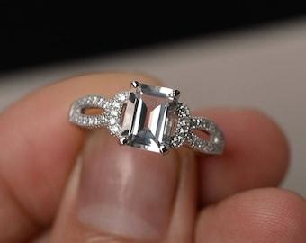 White Topaz Ring Emerald Cut Gemstone Ring Wedding Engagement Rings Silver