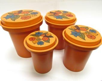 Vintage  Floral Canister Set  1970s- Tupperware