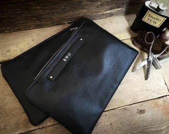 25% OFF Black Leather Toiletry Bag, Fathers Day Gift, Mens Leather Dopp Kit, Black Wash Bag, Husband Gift, Leather Wash Bag