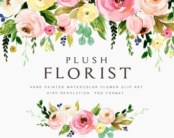 Watercolor flower clipart-Plush Florist/Individual PNG files/Hand Painted/wedding