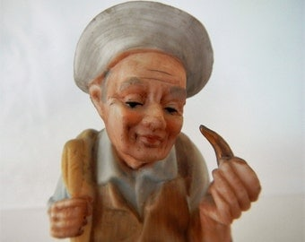 Vintage Napcoware Figurine - C-5462, old man with pipe - 1960s - hand painted, made in Japan, grandfather, grandpa, father, dad