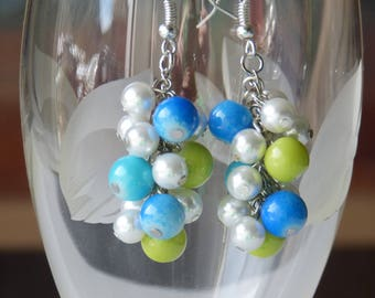 Blue, Green & White Pearl Cluster Earrings/ Handmade Blue, Green, White Pearl Earrings / Pearl Dangle Earrings