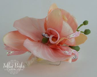 Pink Orchid with Rhinestone Bracelet Wrist Corsage, Prom Corsage, Mother of the Bride Corsage,