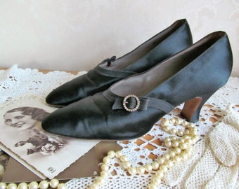 Gorgeous vintage satin evening shoes with paste buckles~c1920s-30s~James Hart, Family Boot Maker, Finchley Rd., London N.W.~Wear or display