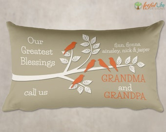 GIFT for GRANDPARENTS, Gift from Grandchildren, Personalized Grandkids Pillow, Our Greatest Blessings Pillow, Gift from Grandkids
