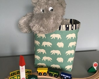 13x13x12 Bear Hike Fabric Basket or Fabric Bin - great for toy or clothes storage