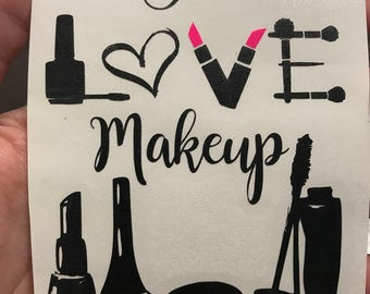 I love make up decal, sticker with name