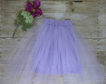 Girls Lilac Tulle Midi Skirt, Lavender Tulle Skirt, Tulle Skirt for Girls, Tulle Skirt Sizes 3/4, 4/5, 6/6X, 7/8, 10/12 Ready to Ship