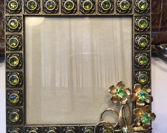 Embellished picture frame 3x3. Green, vintage jewelry , repurposed