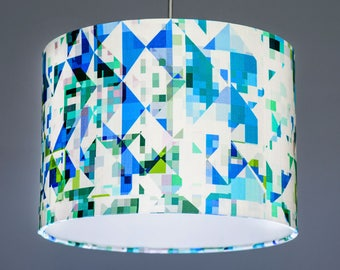 Studio Flock Northmore Teal Green Blue Minor Fabric Lampshade Pendant