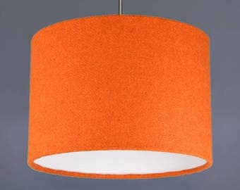 Orange Harris Tweed Wool Fabric Drum Lampshade Pendant