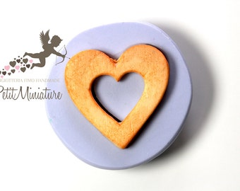 Heart in 3d mold-mold flexible silicone polymer clay biscuit heart charm kawaii polymer clay jewelry resin soap plaster ST318