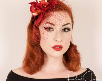 Rockabilly 50s Pin Up Red orchid veil fascinator hair flower comb