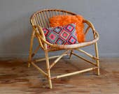Bohemian vintage retro rattan armchair 60s shell antic french bohemian deco armchair sixties furniture rattan furniture