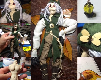 Beetle Catcher, elastic jointed Autumn fae art doll