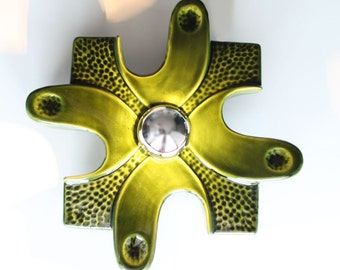 Green ceramica lamp or wall light, abstract design, vintage 70s.