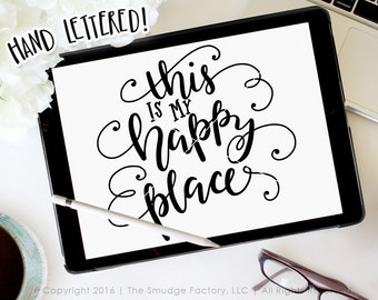 Home SVG Cut File, This Is My Happy Place Cutting File, Home Sweet Home Overlay Silhouette SVG, Cricut Download, There's No Place Like Home