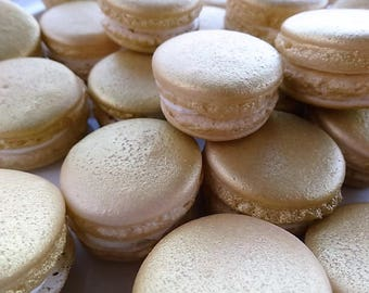 12 Gold Gourmet French macarons - gold macaroons,mother's day,gluten free cookies, baby shower, wedding favor, baptism, bridal shower,easter