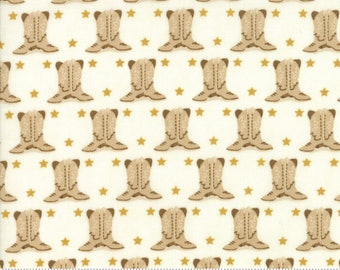Howdy Cowboy Boots Natural Fabric by Stacy Iest Hsu for Moda 100% Cotton by the half yard
