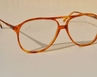 vintage  GALILEO NADIR 56-13 thin tortoise amber brown double bridge  aviator eye/sunglasses frame made in Italy New