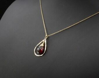 Red Garnet Necklace, Garnet Necklace, Garnet Jewelry, Minimalist Necklace, Dainty Necklace, Minimalist Jewelry, Dainty Jewelry
