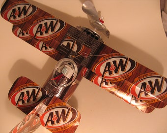 A & W Root Beer Soda Can Airplane - Handcrafted-Wind Spinner-sun catcher-air plane