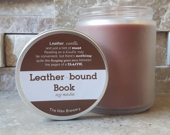 Leather-bound Book scented Soy Candle- 8oz Book Candle