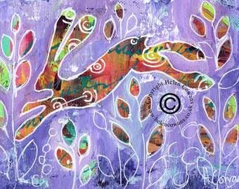 Bounding Hare #164 Original Painting