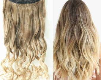 3/4 Full Head Clip in Hair extensions One Piece Ombre Light ash brown to sandy blonde