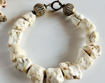 African Inspired White Coral and Brass Statement Necklace