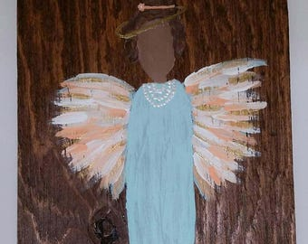 Earth Angel my Guardian Dear, hand painted Angels, Personalised Guardian Angel, Memorial peach and blue with peals