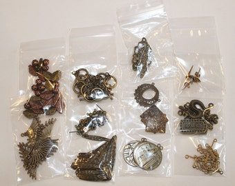 Antique Bronze and Brass Charm and Findings Assortment, B353