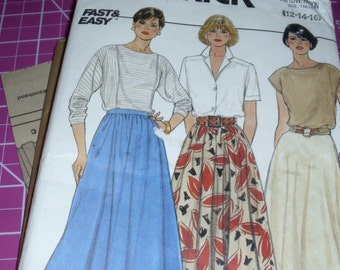 Butterick 3067 / Size 12-14-16 / Fast & Easy / Vintage 1985 Skirt Pattern / Misses Flared Skirt / Uncut FF Pattern / Excellent Condition
