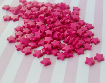 9mm Hot pink Star Beads - set of 50