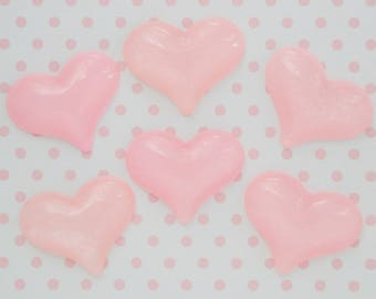 31mm Kawaii Pastel Glitter Pink Heart Decoden Cabochons - 6 piece set