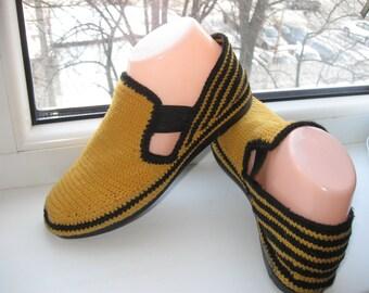 Summer handmade moccasins. Crochet . Comfortable summer shoes.