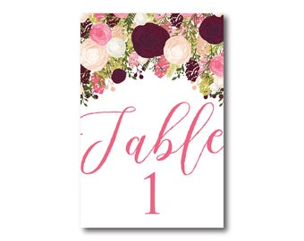 Wedding Table Numbers, Floral Table Numbers, Printed Table Numbers, Wedding Table Numbers, Table Number Sign, Reception Table Number #CL113