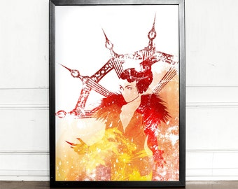 Final Fantasy, Edea, watercolor illustration, giclee art print, ff viii, video games decor, wall decor