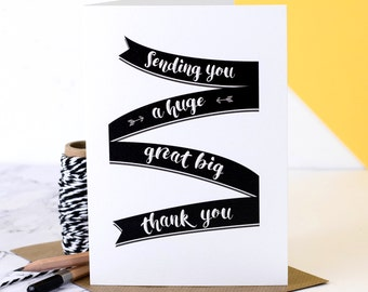 Thank You Card; Thanks Card; Personalised Thank You Card; Great Big Thank You Card; Gratitude Card; Many Thanks; GC506