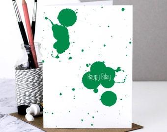 Birthday Card; Happy Birthday Card; Birthday Card Boyfriend; Birthday Card Husband; Happy Birthday Dad; Green; Artist Card; GC539