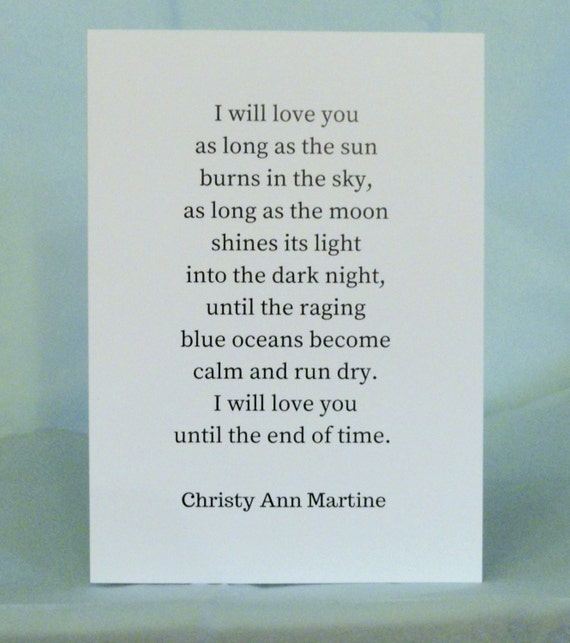 Anniversary Cards - Romantic Greeting Card for Him or Her - Until the End of Time Poem by Christy Ann Martine